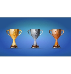 cup of winners award for first second and third vector image