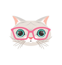 Cute white cat wearing pink glasses funny cartoon vector