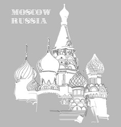 image with saint basils cathedral in moscow vector image