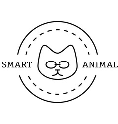 minimal vintage labels with the smart cat in vector image vector image