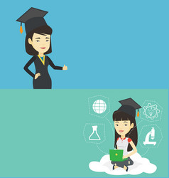 two educational banners with space for text vector image
