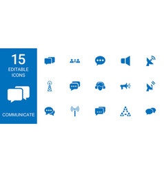 15 communicate icons vector image