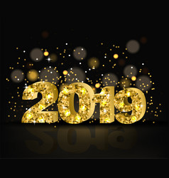 2019 golden text with glitter happy new vector image