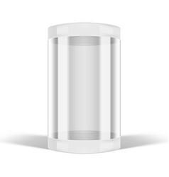 3d round transparent glass showcase box on white vector