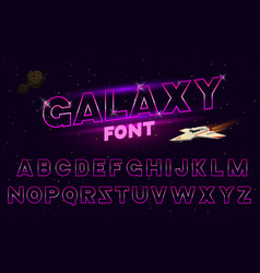 80 s purple neon retro font futuristic chrome vector