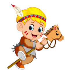 A boy american indian playing stick horse toy vector