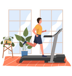 a sporty man is engaged in hall on treadmill vector image