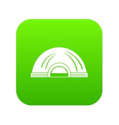 Aboriginal dwelling icon green vector
