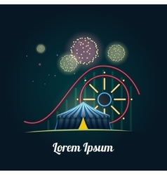Amusement park with fireworks vector