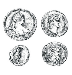 Ancient coins or gold and silver money roman vector