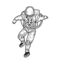 astronaut in spacesuit sketch vector image
