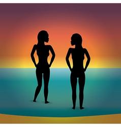 beach bikini women silhouette vector image
