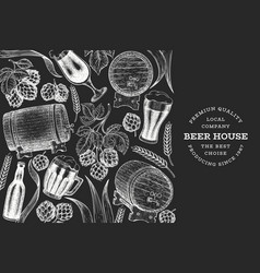 Beer and hop design template hand drawn brewery vector