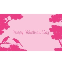 Bir and tree silhouettes landscape for valentine vector image