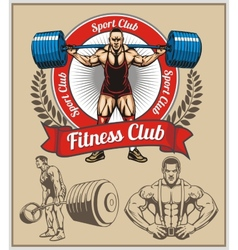 Bodybuilder with a barbell - set vector image