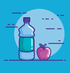 bottle water with apple vector image