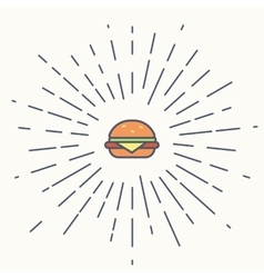 Burger vintage label in hipster style with vector