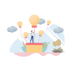 businessman rising on bulb balloon concept with vector image