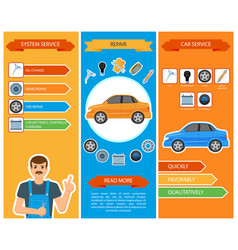 Car repair mechanics services infographics vector