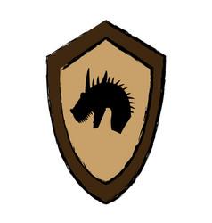 Cartoon shield knight dragon fairy tale emblem vector