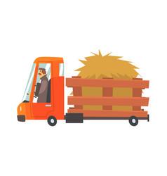 Cartoon truckload of hay farmer truck vector