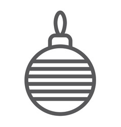 christmas tree ball line icon xmas and decoration vector image