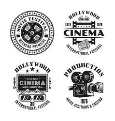 Cinema and cinematography set emblems vector