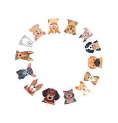 circle different purebred dogs vector image