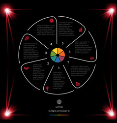 Circle lines infographic 7 positions dark vector