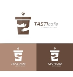 coffee cup and hands logo combination Cafe vector image