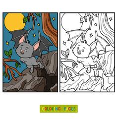 coloring book vampire bat vector image
