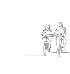 Continuous one line drawing happy couple cycling vector