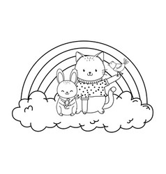 cute cat in cloud with rainbow woodland character vector image
