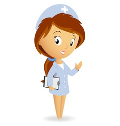 cute female nurse with tablet notepad chart vector image