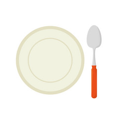 dish and spoon isolated icon vector image