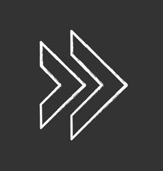 Double arrow chalk icon rewinding button vector