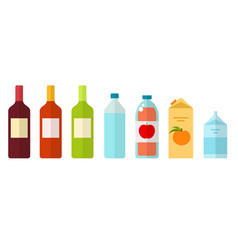 Drinks in glass plastic and paper packaging flat vector