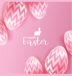 easter eggs on pink background vector image