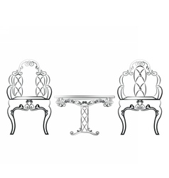 Elegant Table and chairs furniture set vector image