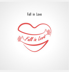 fall in love typographical design elements vector image