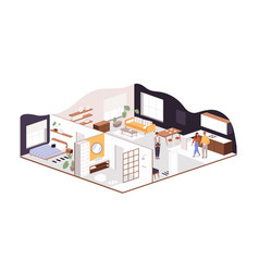 Family couple buying or renting new apartment or vector