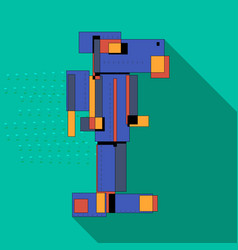 Flat abstract robot full color vector