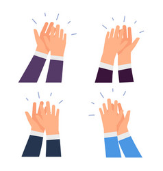 flat clapping hands icons isolated on white vector image