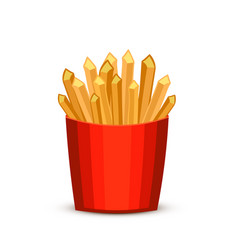 French fries in red package fast food french vector
