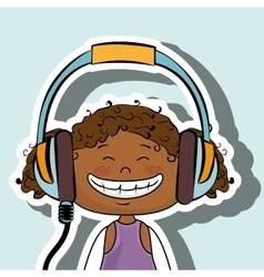 girl kid headphones music icon vector image