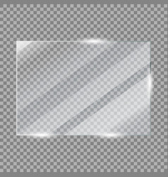 Glass plate frame realistic glossy window vector