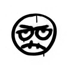 graffiti angry emoji sprayed in black over white vector image