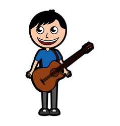 Guitar body man cartoon vector