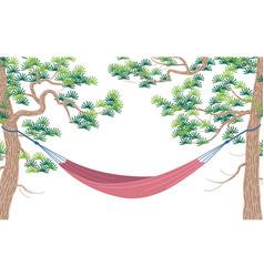 hammock hanging between two pines vector image