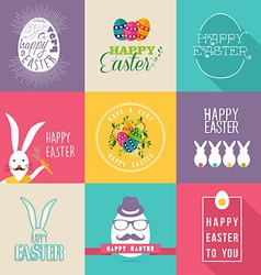 Happy Easter flat design labels set vector image